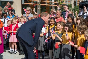 Duke of Cambridge meeting school children