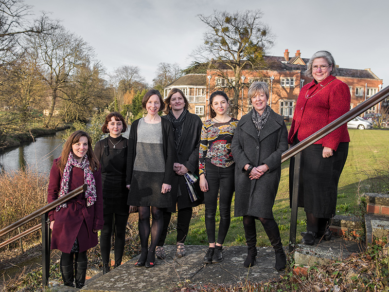 Dr Selina Todd and Dr Senia Paseta (second and third from the left) with students and academics involved in the Women and the Humanities initiative. Photo by John Cairns