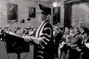 Dame Leonie Kramer in the Great Hall, Orientation Week 1991.