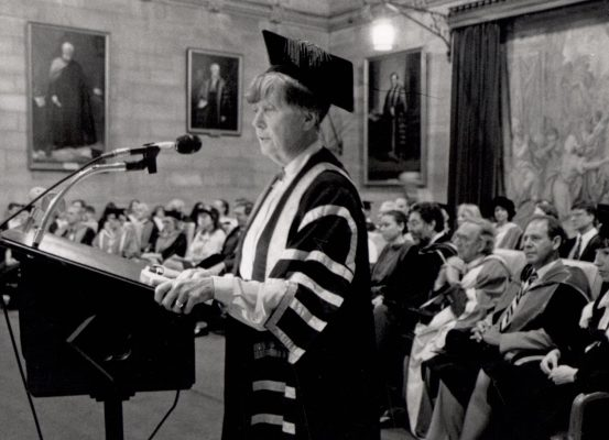 Dame Leonie Kramer in the Great Hall, Orientation Week 1991.