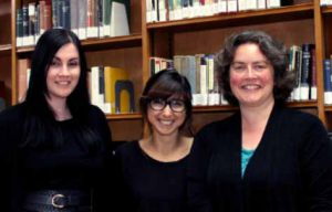 Library and Archives team unmasked! L-R Louise Cowan, Nora Khayi, Amanda Ingram
