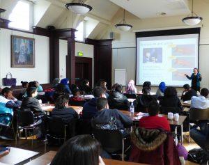 Dr Althaus giving her language acquisition lecture